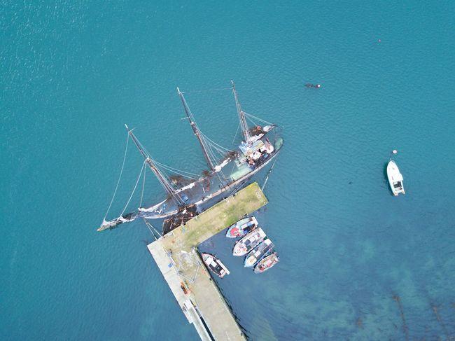The sunken Regina Caelis schooner in Portaferry Aerial Shot Day Mast Mode Of Transport Nautical Vessel No People Outdoors Portaferry Regina Caelis Sailboat Shipwreck Strangford Lough Sunk Transportation Water