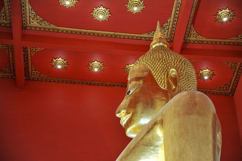 Buddhist Temple Buddha Red Indoors  Decoration Gold Colored Art And Craft Illuminated No People Religion Lighting Equipment Built Structure Architecture Creativity Representation Spirituality