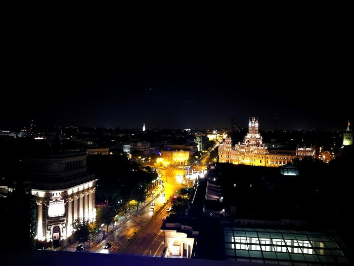 La Terraza Plaza De Cibeles Madrid Madrid Illuminated Building Exterior City Night Architecture Built Structure View From Above View Bar Erasmus Photo Diary Outdoors Cityscape