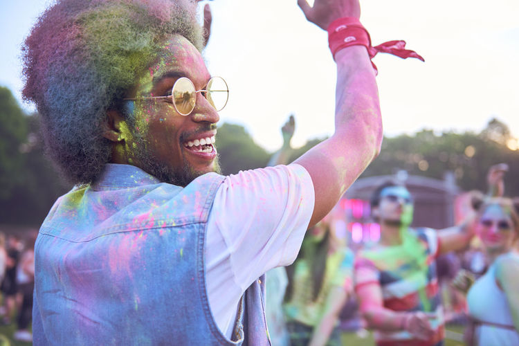 Colorful man during the festival