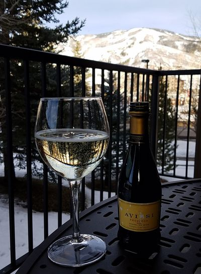 Apres Ski Ski Slopes Prosecco Bubbly Winter Fun Steamboat Springs Condo Balcony View Winter View Colorado Steamboat Colorado Cheers! Day Is Done End Of The Day... Wineglass Alcohol Drink Cold Temperature Wine Drinking Glass Table Bottle Wine Bottle