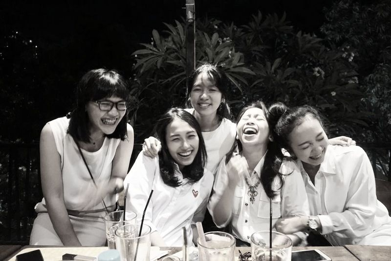 Because laughing is always free Happiness Friendship Togetherness Enjoyment Young Adult Smiling Day Monocrhome Black And White Monochrome Photography