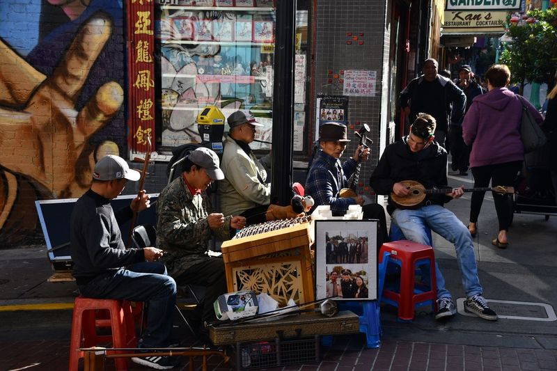 Embracing the culture of Chinatown Street San Francisco Culture Group Of People Men Real People Crowd City Architecture The Street Photographer - 2018 EyeEm Awards Large Group Of People Lifestyles Music