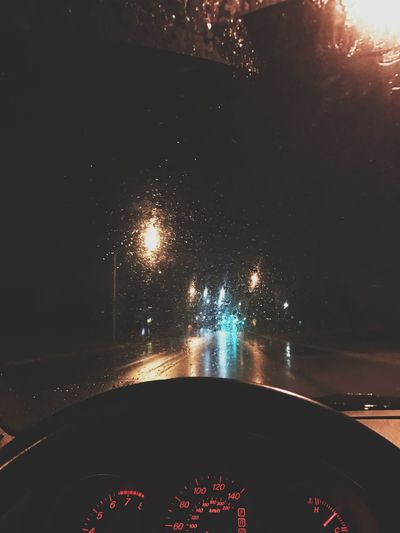 Driving Car Vehicle Interior Car Interior Transportation Illuminated Land Vehicle Mode Of Transport Night Windshield Car Point Of View Dashboard No People Water Speedometer Sky Car Wash Outdoors