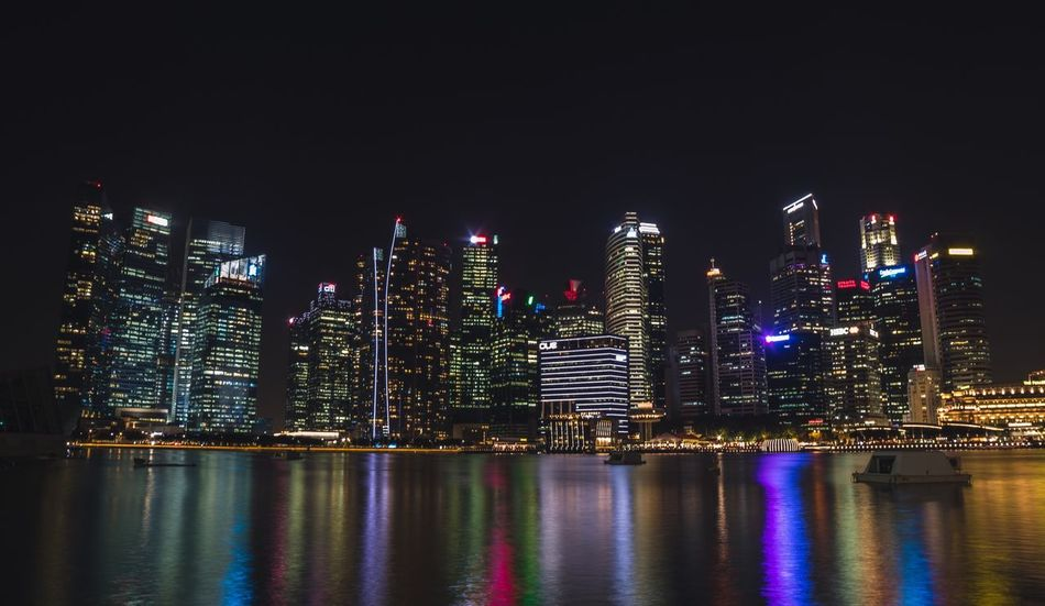 Adventures In The City Miles Away Skyscraper Architecture Night City Illuminated Urban Skyline Modern Reflection Building Exterior Cityscape Travel Destinations No People Singapore The Architect HUAWEI Photo Award: After Dark