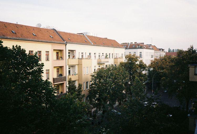 Residential buildings in berlin against sky