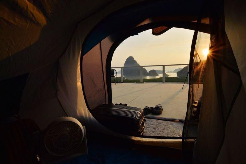 Tent on seashore