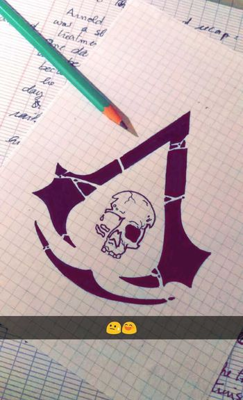 Assassinscreed Drawing Skull Game Chateauroux France Night My Drawing