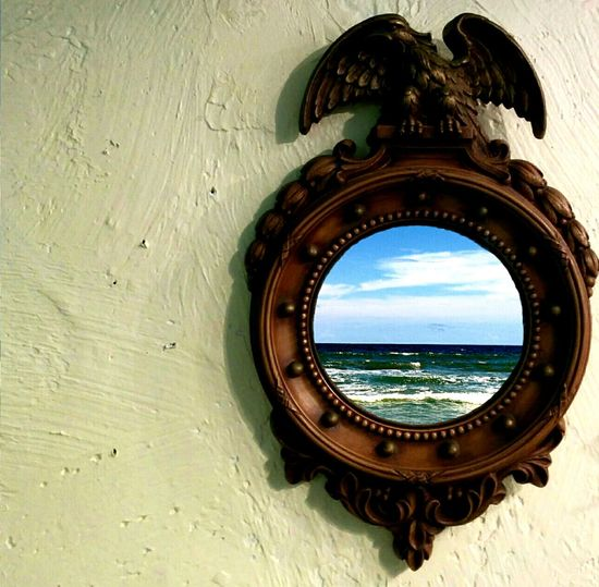Ocean Waves Waves, Ocean, Nature Clouds And Sky Mirror Hanging On The Wall Brass Frame Eagle Blue Sky Blue Sea City By The Sea