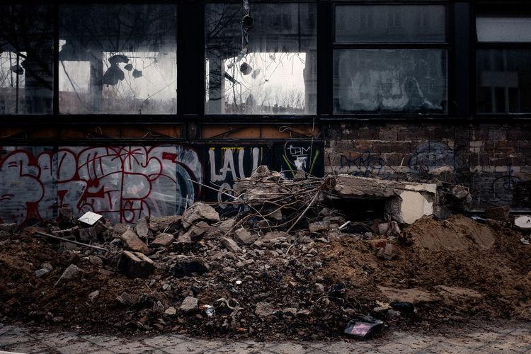 Close-up of abandoned graffiti