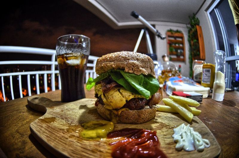 Detail shot of hamburger