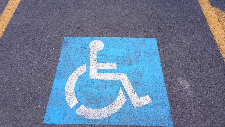 High angle view of wheelchair access on road