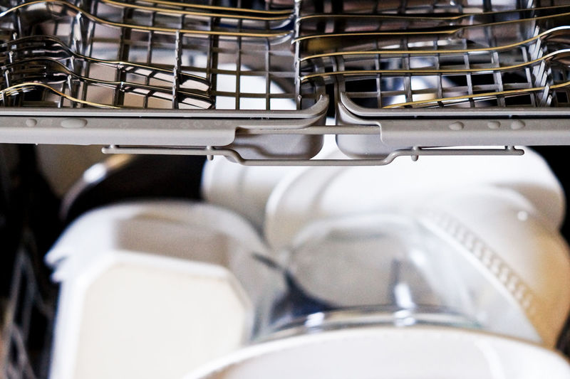 High angle view of dishwasher