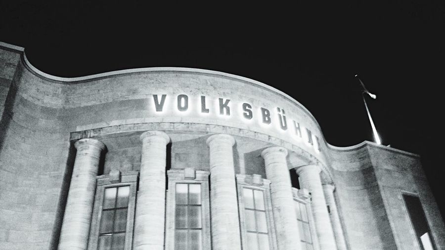 Berlin SNAPSHOTS Volksbühne Black & White Monochrome Architecture Berlin At Night Blackandwhite Photography Black And White Collection