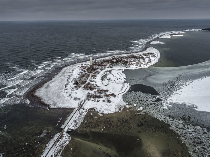 Aerial Shot Baltic Sea Drone  Ice Lighthouse Sweden Winter Aerial View Beach Beauty In Nature Bridge - Man Made Structure Day Horizon Over Water Nature No People Outdoors Scenics Sea Sky Snow Tranquil Scene Tranquility Water Wave Öland