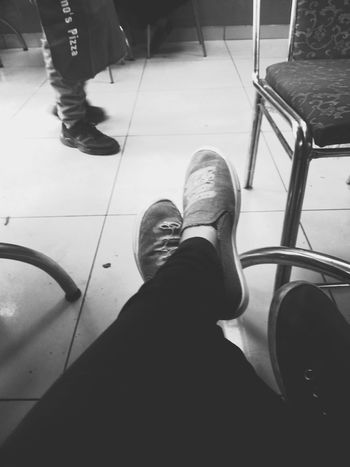 Low Section Human Leg Human Body Part Shoe Human Foot Real People Close-up Human Feet Shoeselfie Shoes Off Blackandwhite Photography Black And White Collection