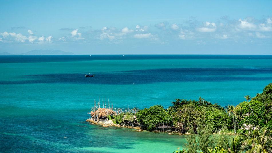 Blue Boat California Green Hill Isalndli Island Ocean Ocean Shores Ocean View Sea Thailand Tranquil Tranquil Scene Traveling Water