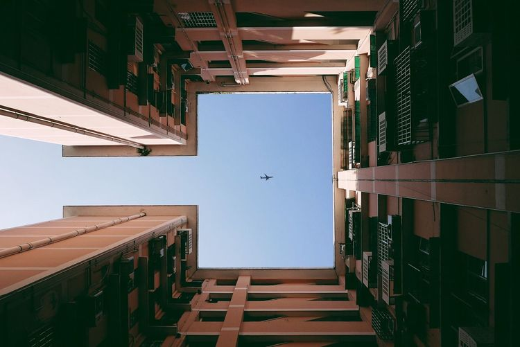 Architecture Built Structure Sky Blue Sky Air Plane Raise Your Head Sqaud Sky Lovers Flying High Minimalism Minimalist Architecture The Graphic City The Architect - 2018 EyeEm Awards