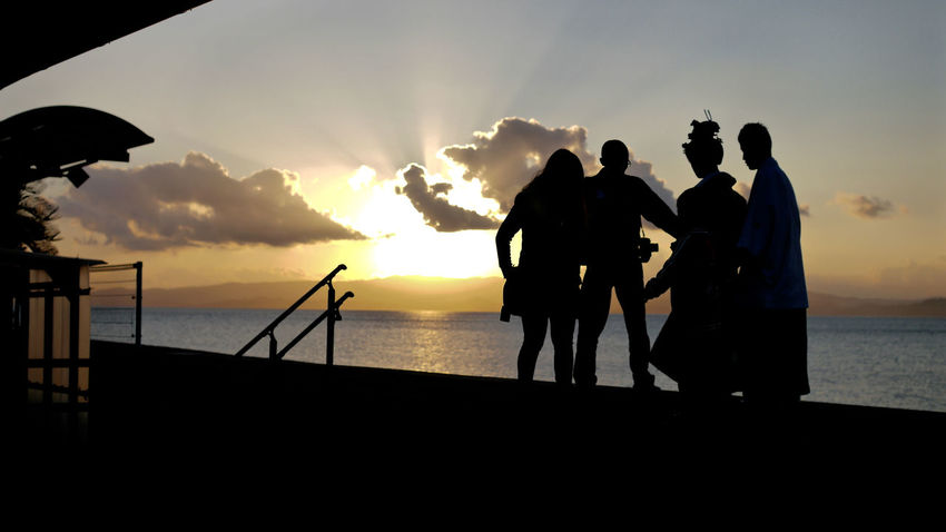 It happened a day : Somewhere Nagasaki 16:50. 16:9 Crop 50mm F2.8 Against The Sun Before Sunset Happy People Just One Shot People Photography Real People Sea And Sky Showcase: December Silhouette Sunset Silhouettes Untold Story Seaside Station 千綿駅