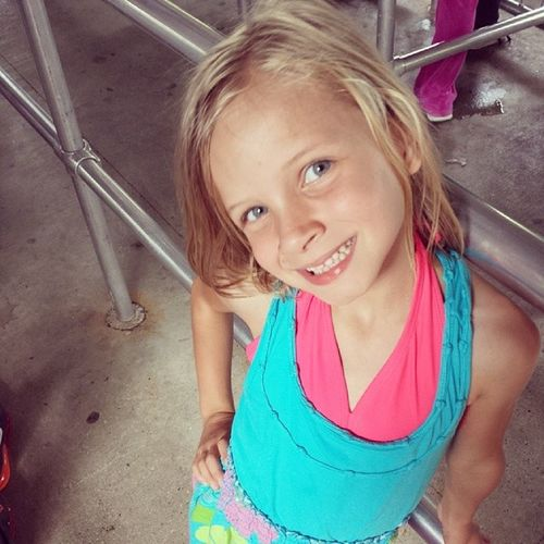 She's about to ride her favorite rollercoaster. Yes, rollercoaster. She's 6. Thrillseeker Getsitfromhermama Memorialday2014