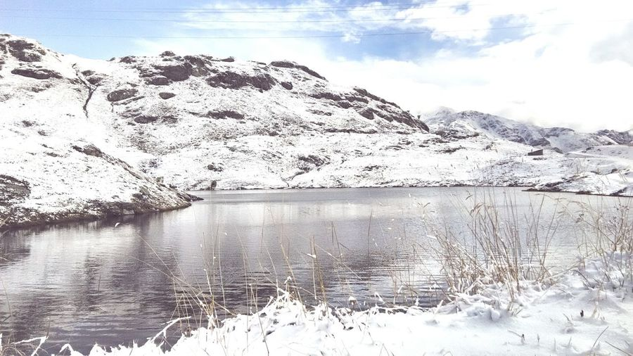Lake Ice Cold Temperature Outdoors Nature Reflection Beauty In Nature Mountain Scenics Winter Nofilter Colorsplash Followshoutoutlikecomment Silhouette Prospective Cloud - Sky Followers Mobilephotography Wonderful View Landscape_Collection Ohotooftheday