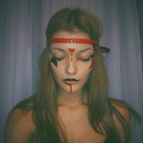 Happyhalloween Soon... Makeup Girl Blackandred Injun