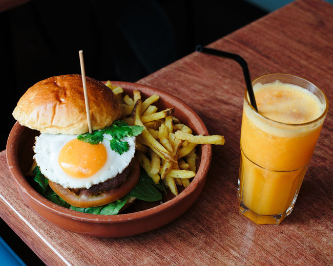 not healthy eating Burger Egg Yolk Juice Breakfast Close-up Day Drink Egg Food Food And Drink Freshness Fried Egg Hamburger Healthy Eating Indoors  No People Orange Color Plate Ready-to-eat Serving Size Table Unhealthy Eating