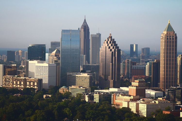 Atlanta's north end in summer Skyscraper Cityscape Architecture City Building Exterior Modern Tall - High Urban Skyline Built Structure Tower Travel Destinations Downtown District Outdoors Growth Day Sky Scenics Cityscape Atlanta, Georgia Skyline Aerial View Aviationphotography ATL Aerialview Aviation Photography