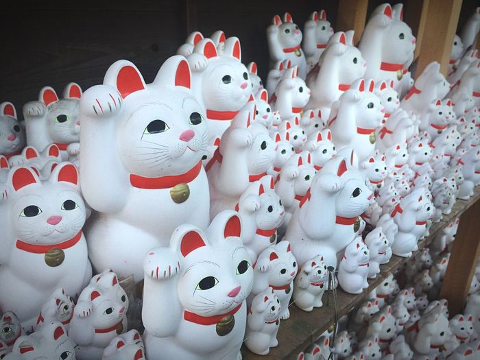 Meow ~ 🐾 Neko Manekineko Cat Cats Wish Lucky Lucky Cat Temples And Shrines Japan Tokyo Temple Shrine Gotokuji Gotokuji Temple Tokyo,Japan Japanese Temple Japanese Culture Japanese Style Representation No People Large Group Of Objects Art And Craft White Color Celebration Holiday