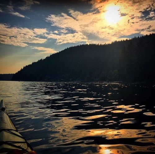 Kayaking Sunset Sunset_collection Nature Sky Reflection Tranquil Scene Water Beauty In Nature Vancouver Vancouver BC Deep Cove Water Reflections Water_collection Watersports