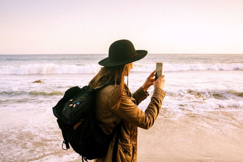 My Smartphone Life Open Edit Enjoying Life Hanging Out Beach Sunset California Taking Photos Color Portrait On The Road