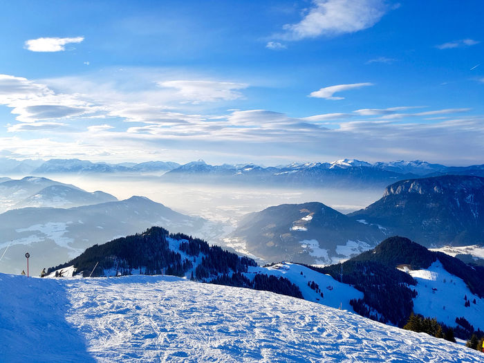 Beauty In Nature Winter Snow Sky Nature Day Alps Travel Destinations Environmental Damage No People Tourism Winter Wonderland Winter Sport Cold Temperature Mountain Scenics - Nature Landscape White Color Snowcapped Mountain Non-urban Scene Mountain Range Mountain Peak Idyllic