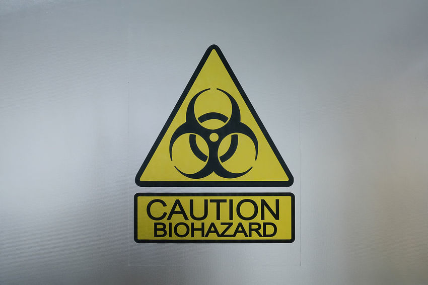Beware Biohazard Caution Close-up Communication Danger Glass Indoors  No People RISK Sign Warning Sign Yellow
