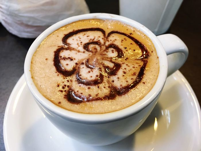High angle view of cappuccino