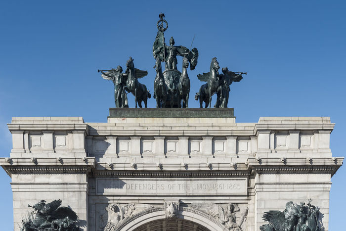 The Soldier and Sailors Memorial Arch in Brooklyn New York City. New York City Soldiers And Sailors Monument Architecture Art And Craft Blue Brooklyn Nyc Building Exterior Built Structure City Clear Sky Creativity Day Horse Human Representation Landmark Low Angle View Male Likeness Monument No People Outdoors Prospect Park Sculpture Sky Statue Travel Destinations