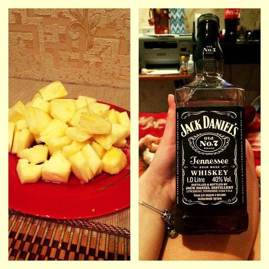 Хорошо провожу вечер:) вечер ананас Виски алкоголь