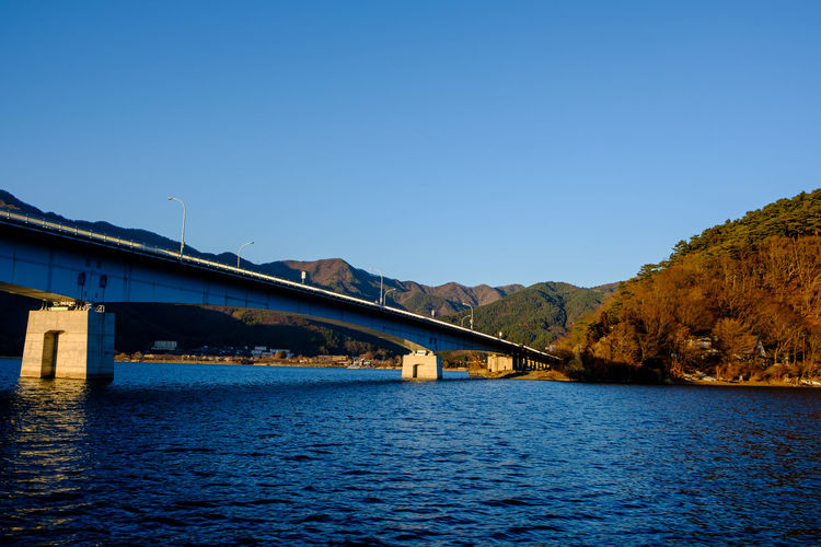 Bridge over river against clear blue sky