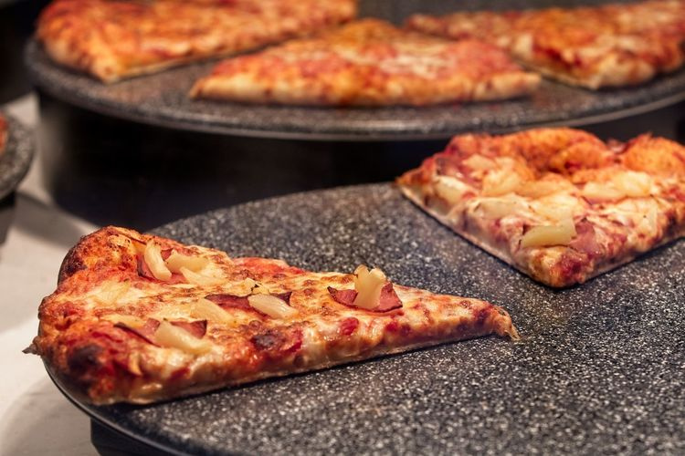 Close-up of pizza on barbecue grill