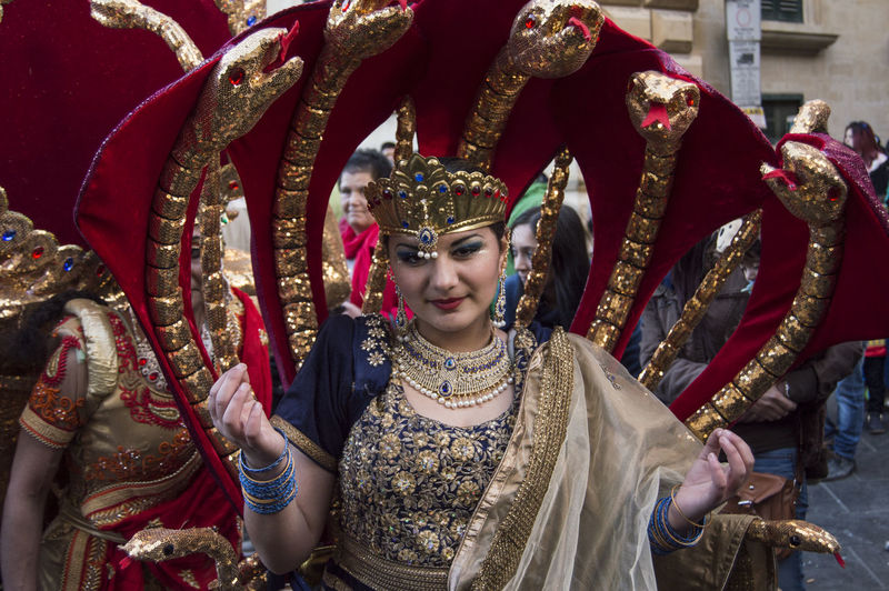 Portrait Of Woman In Snake Costume During Carnival