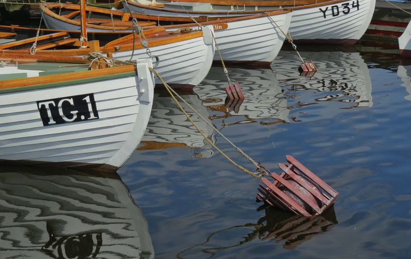 Water Nautical Vessel Mode Of Transportation Transportation Moored Day Lake Nature Reflection No People Waterfront Outdoors High Angle View Rope Travel Sailboat Harbor Wood - Material Floating On Water Rowboat Fishing Boat