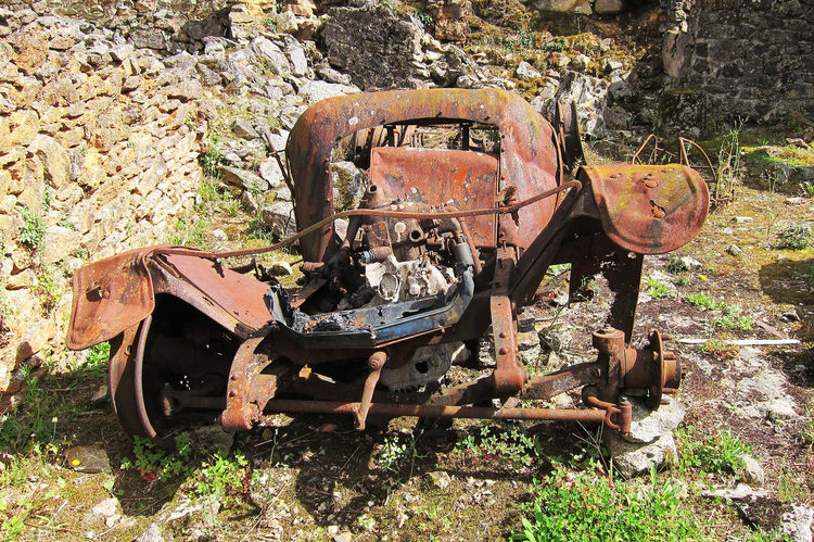 Oradour sur-glane - vehicle remains Oradour Sur Glane Abandoned Car Damaged Deterioration No People Run-down Rusty Scrap Metal Transportation Weathered