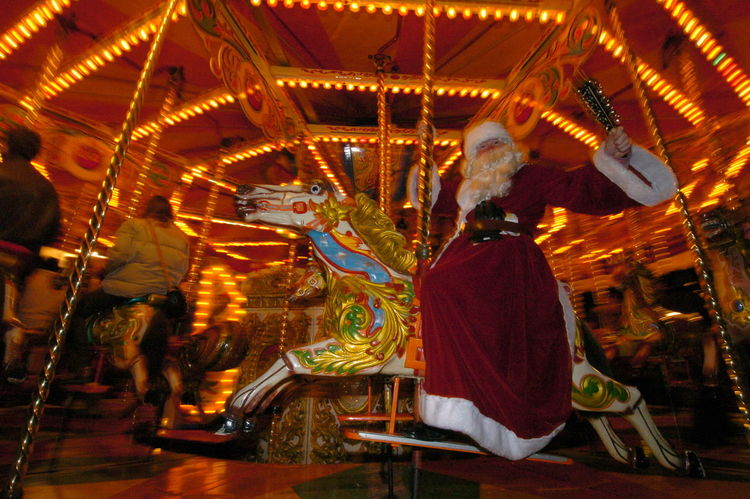 Bello Christmas Father Xmas Horse Illuminated Market Roundabout Art Steam First Eyeem Photo