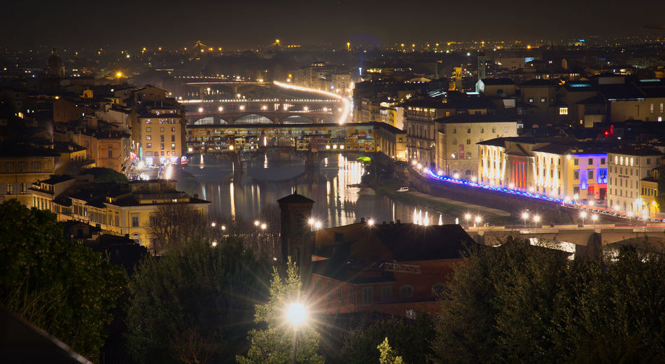 Nightphotography Night Lights Illuminations Arno River Florence Italy City Cityscape Urban Skyline Nightlife Architecture