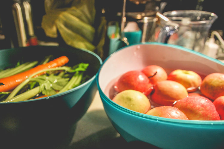 Apple Juicing Bowl Clean Close-up Domestic Room Focus On Foreground Food Food And Drink Food Preparation Freshness Fruit Healthy Eating High Angle View Household Equipment Indoors  Kitchen Utensil Real People Red Still Life Table Vegetable Wellbeing A New Beginning My Best Photo