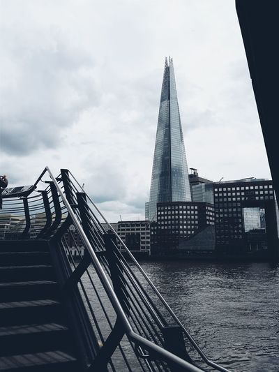 The Shard. London Lifestyle Staircase Architecture Business Finance And Industry Built Structure Railing Outdoors Bridge - Man Made Structure Storm Overcast Storm Cloud Cityscape Building Exterior