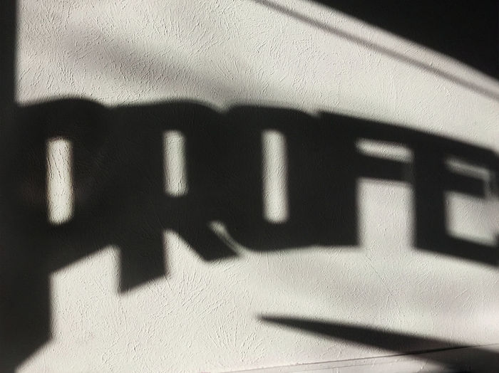 """""""PROFE"""" shadow on shop wall, Denver CO Abstract Black Black And White Close-up Colorado Day Denver Letters No People Profe Shadow Shop Store Wall White Window"""