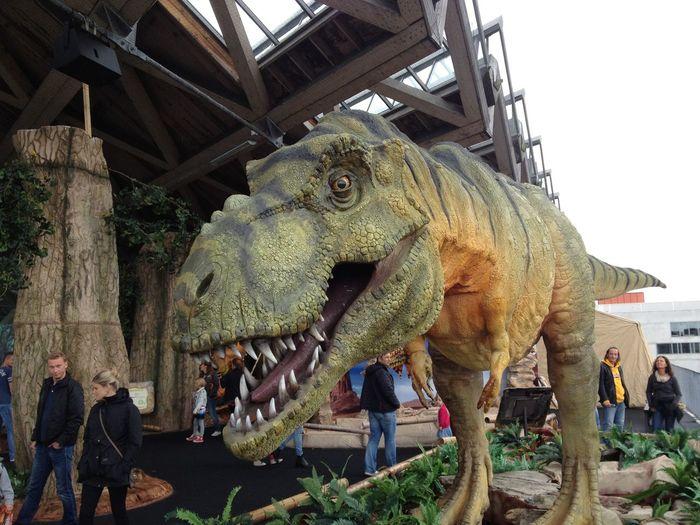 Dinosaur Reptile Art And Craft Built Structure Day Outdoors Sculpture Universeum