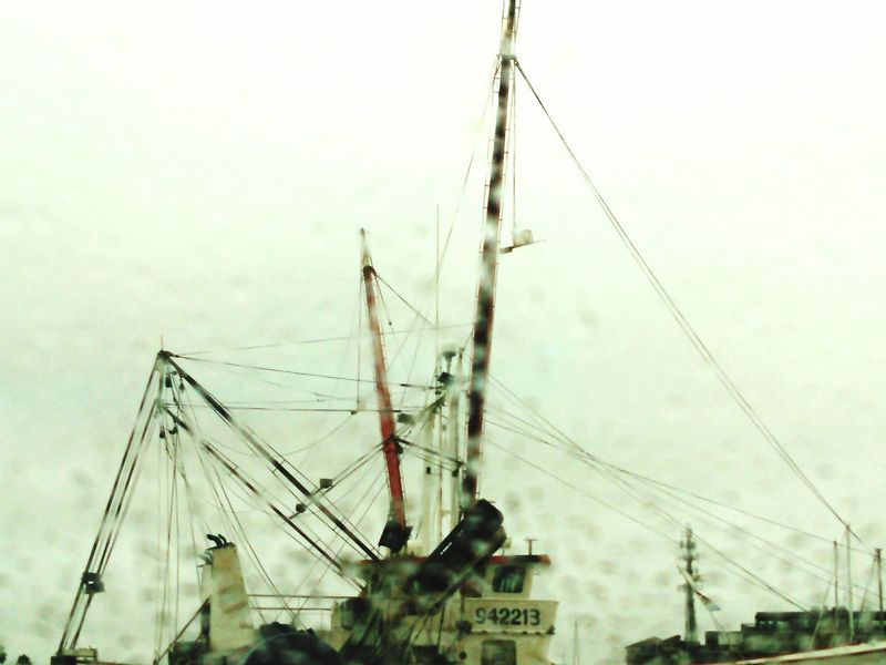 Shrimp Boat Looking Through Window Rain Gulf Of Mexico