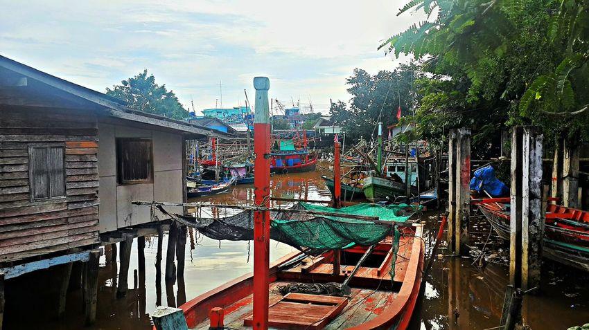 Pak Nam Lang Suan Village Chumphon Day Fishing Boats Fishing Village Outdoors Pak Nam Lang Suan Thailand Village View