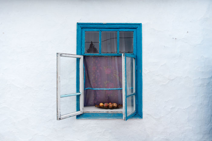 An open window of a kyrgysian house. Bishkek (Ak Jol) Kyrgistan. Apples Architecture Blue Exotic Fruites Old Window Wolle